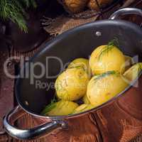 fresh boiled young potatoes with butter