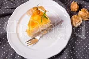 delicious cakes with Physalis, fresh apples and cream