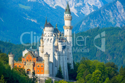 Neuschwanstein Castle in the Background of the Morning Mountains