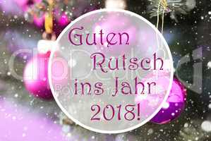 Rose Quartz Christmas Balls, Guten Rutsch 2018 Means New Year