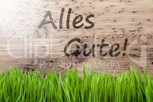 Bright Sunny Wooden Background, Gras, Alles Gute Means Best Wishes
