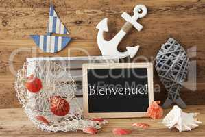 Chalkboard With Summer Decoration, Bienvenue Means Welcome