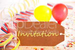 Party Label, Balloon, Streamer, Text Invitation