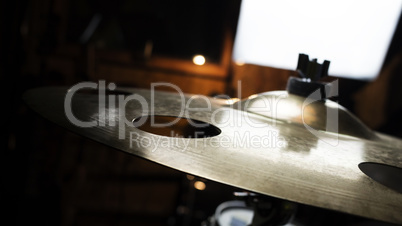 Drum Cymbal In Music Studio Close Up