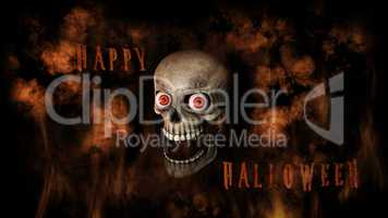 Human Skull With Eyes And Scary, Evil Look 3D Rendering