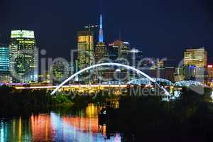 Downtown Nashville cityscape at night