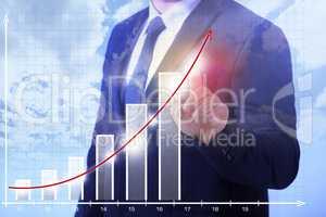 business Man zeigt Wachstum