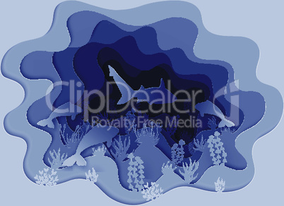 illustration of a shark hunting for a fish