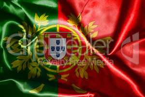 Portugal National Flag With Coat Of Arms Wawving In The Wind 3D