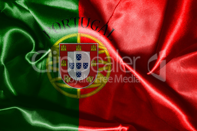 Portugal National Flag With Country Name Written On It 3D illust