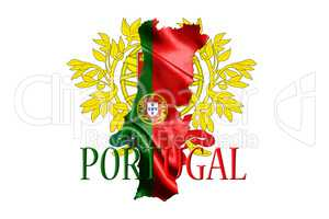 Portugal National Flag With Map Of Portugal And Name Of The Coun