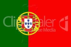 Portugal National Flag With Map Of Portugal On It 3D illustratio