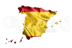 Map Of Spain With Spanish Flag On It Isolated On White Backgroun