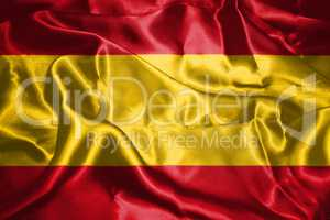 Spanish National Flag With Coat Of Arms Waving In The Wind 3D il