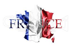 National Flag Of France Waving in the Wind With French Map And C