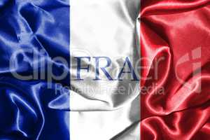 National Flag Of France Waving in the Wind With Country Name On