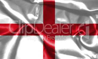 Flag of England Waving In The Wind. St George's Cross 3D illustr