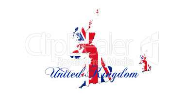 United Kingdom Map With Flag and Country Name On It Isolated On