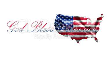 United States of America Map With American  Flag and Text 3D ill