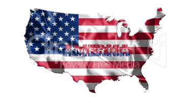 United States of America Map With American  Flag 3D illustration