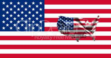 United States of America Flag With Map of Country 3D illustratio