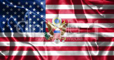 United States of America Flag With Eagle Coat Of Arms 3D illustr