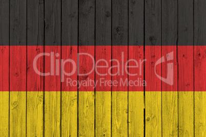 Germany national flag on old wood background