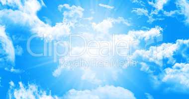 Heavenly Blue Sky With White Fluffy Clouds Illustration