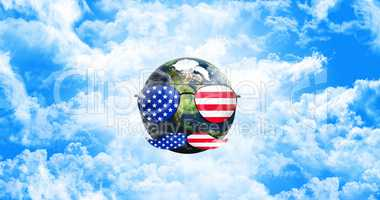 Planet Earth With Sunglasses and Mustaches. United States of Ame