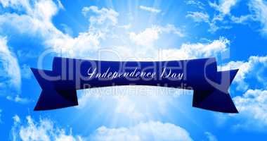 Happy 4th of July.  Independence Day, Ribbon Banner On Sky Backg