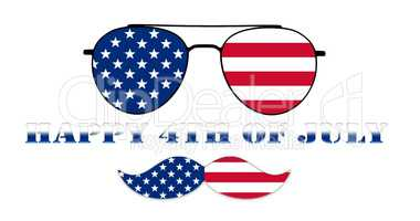 Happy 4th of July. Glasses and Mustache Design of the American F