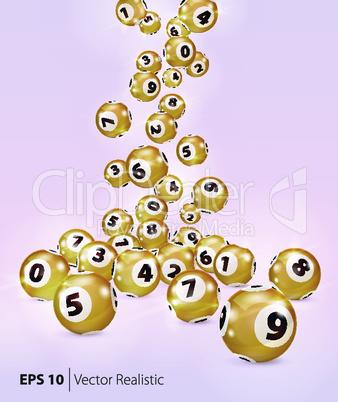 Vector Golden Bingo balls fall randomly.