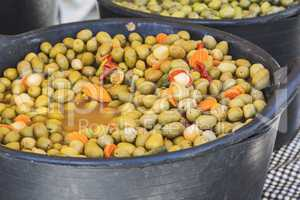 Green olive on the market