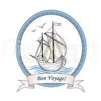 Sailing ship. Summer holiday Bon Voyage card. Sail boat transpor