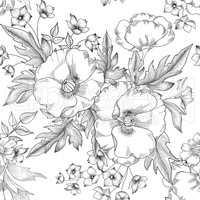 Floral seamless pattern. Summer Flower bouquet decor. Engraving