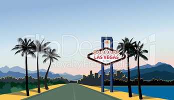 Las Vegas city skyline. Travel USA background. Landscape with La