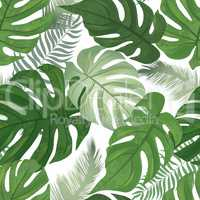 Floral seamless pattern. Tropical leaves background. Palm tree l