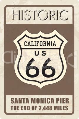 Retro route 66 sign. Historic roud banner. Travel California, US