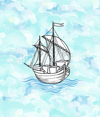 Sailing ship over ocean waves background. Sail boat transport.