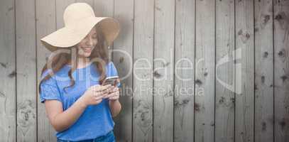 Composite image of brunette women wearing summer hat