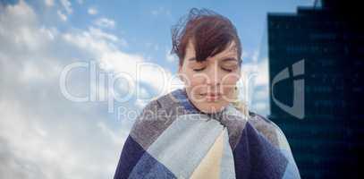 Composite image of portrait of brunette women wearing scarf