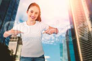 Composite image of portrait of smiling brunette woman in front of white background