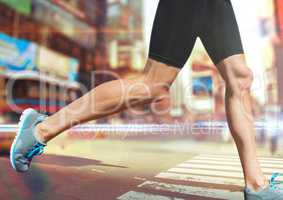 Athlete legs running through city rush light