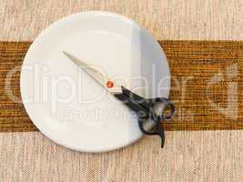 Hairdressing scissors, on white and gray plate