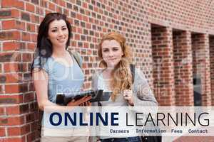 Education  and online learning text and women standing
