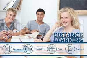 Education and distance learning text and icons and people sitting