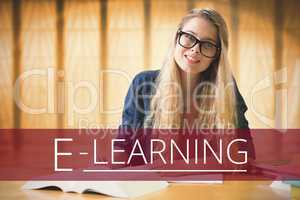 Education and e-learning text and woman sitting at a library