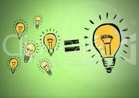 Lots of light bulbs equal one big lightbulb