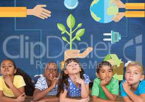 Kids thinking together and blue wall with recycling and renewable graphics
