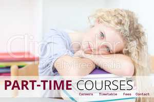Education and part-time courses text and woman lying on books